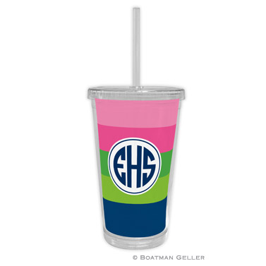 Beverage Tumbler - Bold Stripe Pink, Green & Navy