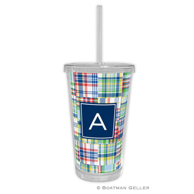 Beverage Tumbler - Madras Patch Blue