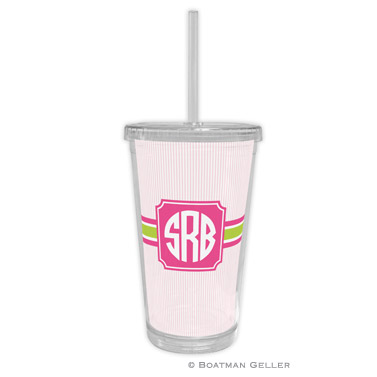 Beverage Tumbler - Seersucker Band Pink & Green