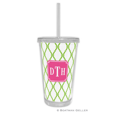 Beverage Tumbler - Bamboo Green & Raspberry