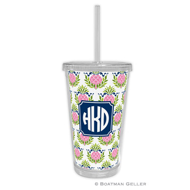 Beverage Tumbler - Pineapple Repeat Pink