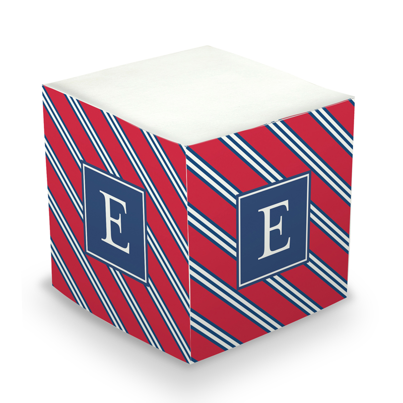Sticky Memo Cube - Repp Tie Red & Navy