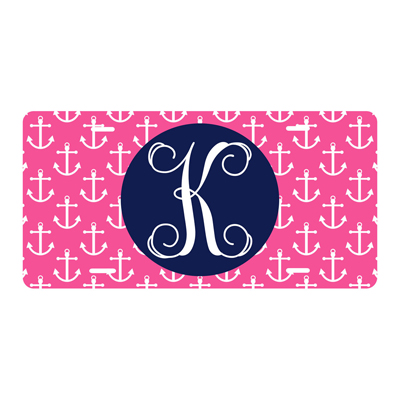 Hot Pink Anchor License Plate
