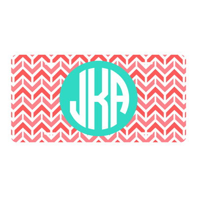 Coral Aztec Chevron License Plate
