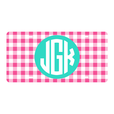 Hot Pink Gingham License Plate