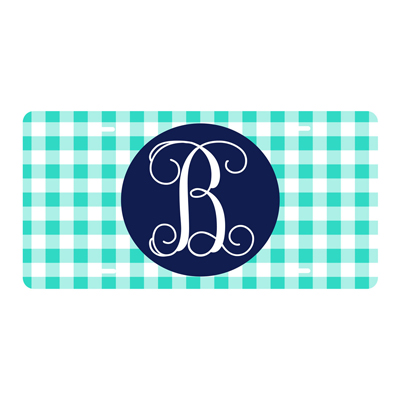 Mint Gingham License Plate