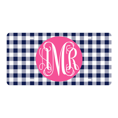 Navy Gingham License Plate