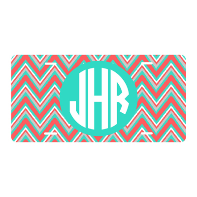 Coral Multi Chevron License Plate