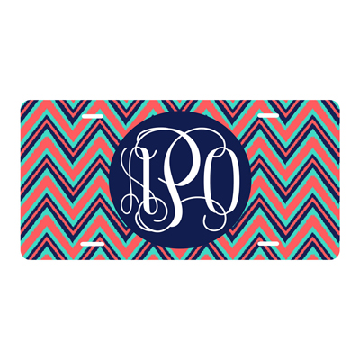 Navy Multi Chevron License Plate