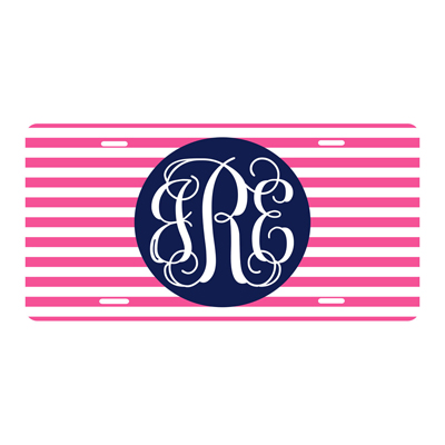 Hot Pink Stripe License Plate