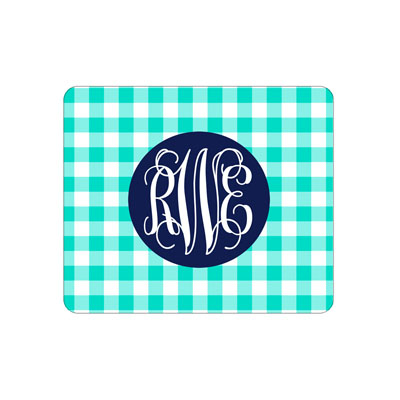 Mint Gingham Mouse Pad