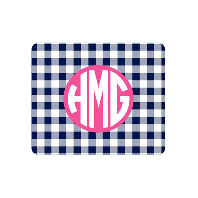 Navy Gingham Mouse Pad