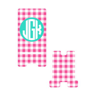 Hot Pink Gingham Phone Stand