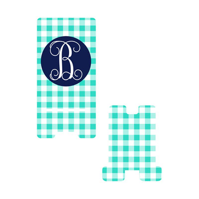 Mint Gingham Phone Stand