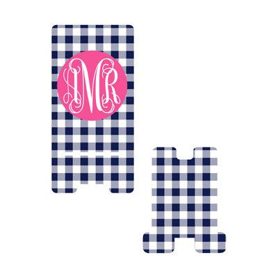 Navy Gingham Phone Stand