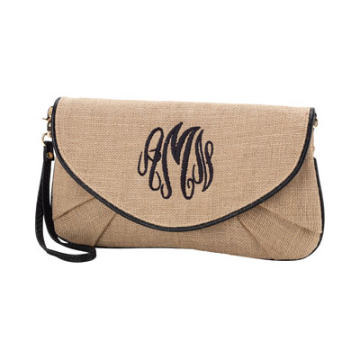 Burlap Clutch with Black Trim