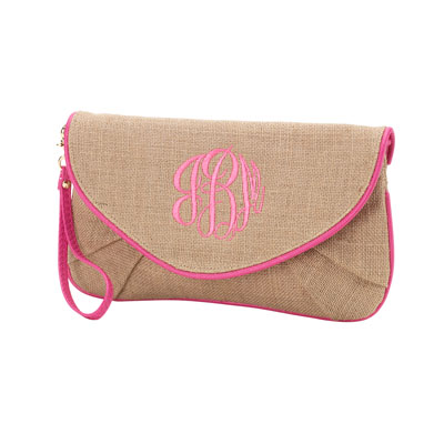 Burlap Clutch with Hot Pink Trim