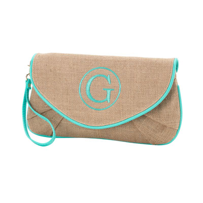 Burlap Clutch with Mint Trim