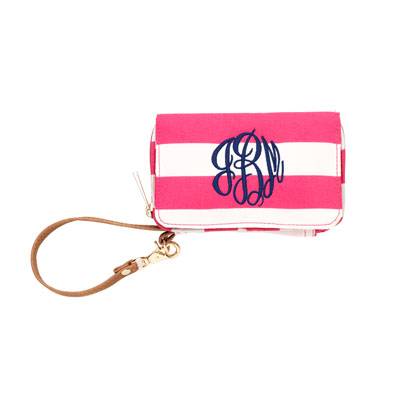 Pink Stripe Mini Wristlet