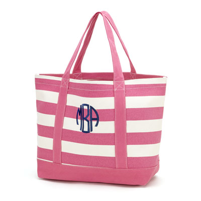 Canvas Tote Bag - Hot Pink Stripe