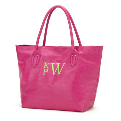 Hot Pink Large Monogrammed Bag