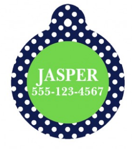Navy Dot Personalized Pet Tag